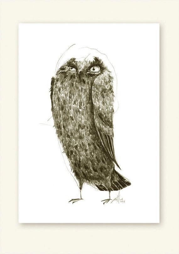 Owl Intense Print A5 Sepia