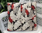 """Tropical Print Decorative Throw Pillow Cover, Black, Taupe, Brick Red, and Cream 20"""" x 20"""""""