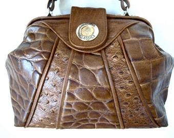 Sale - Super Cute AMERICAN CLASSICS Moc Crocodile and Ostrich Leather Brown Bucket Bag