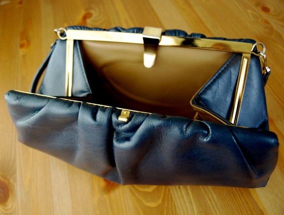 Reserved for Anna Lee - Beautiful Vintage Navy Leather Purse/Clutch with Gold Triangle Closure