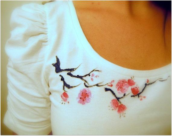Hand Painted Cherry Blossom Shirt
