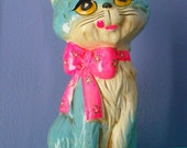 Psychadelic neon Kitty Cat  Chalkware Bank-OSL JAPAN 1969