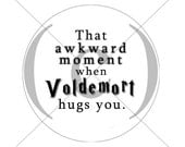 That Awkward Moment - Harry Potter 1.25 inch pinback-button - Deathly Hallows Part 2 - Voldemort - Draco Malfoy - Hogwarts