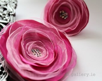 Pink Flower Set, Satin with Organza Brooch and Ring Wedding Set
