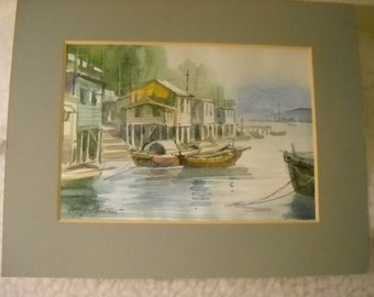 SALE - Watercolor, Original, River View, Houseboats, Greys, Blues, Greens, Grey Mat