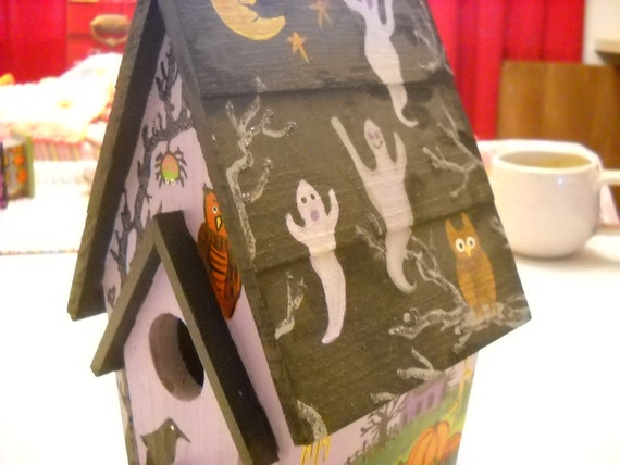 Birdhouse, Halloween, Owl, Pumpkins, Witch, Handpainted, Home Decor, Black, Purple, Orange, Glitter