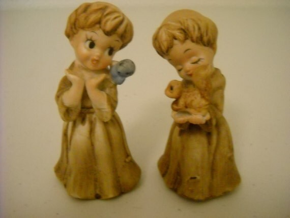 Figurines, Monks, St. Francis, Vintage, Two, (2), Friar Robes, Sweet, Bird, Squirrel, Whimsical