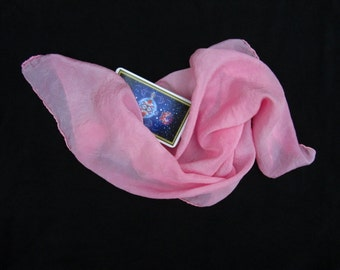 "Pink Rose Silk Tarot Cloth - Altar Cloth - Hand Dyed 22""x22"" - 100% silk - Tarot Wrap"