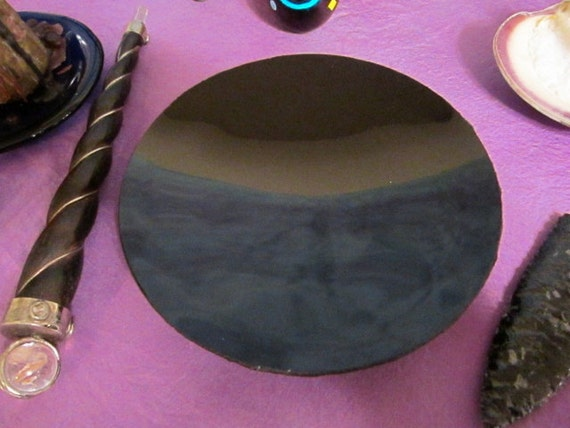 "Black Scrying Mirror, Handcrafted 8"" Concave - with a Black Silk wrap"