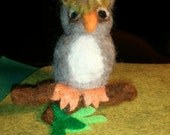 Hoot Owl on a branch Needle Felt
