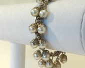 Vintage Faux Pearl Bracelet with Silver Chain Link- 1950's -1960's
