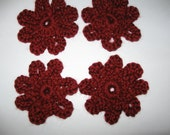 Four  Ruby Red  Crochet Flowers