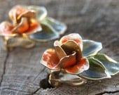 Vintage 40s Shabby Chic Orange Rose Clip On Earrings