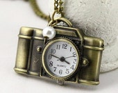 Retro camera Pocket watch charm Necklace, with faux pearl
