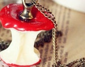 red cute  apple  charm necklace