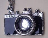 Retro black Camera charm necklace (with crystal stone lens)