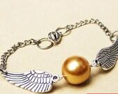 Golden Snitch Bracelet In Silver- Steampunk Harry Potter Golden Snitch Keepsake-----sale