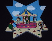 Tokidoki Carousel Painting on a Wodden Star