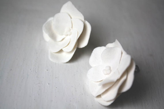 White porcelain flower earrings with sterling silver backing