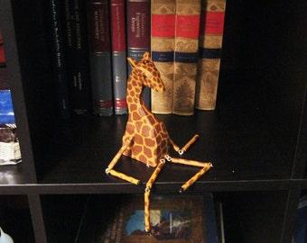 Giraffe shelf sitter- carved wood