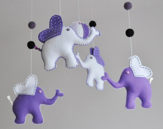 baby shower elephant mobile purple and white elephant crib decor