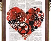 STEAMPUNK ART PRINT Mechanical Heart Modern Print Illustration Upcycled Book Page Antique Vintage Book Print