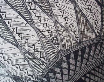 Original Artwork Black Etching Print on Somerset paper