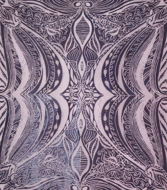 Purple Symmetrical Lino print collage housewarming present unique art wavy pattern design