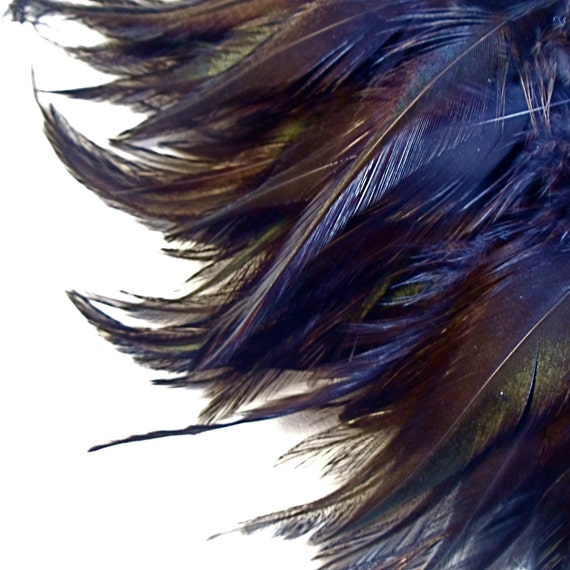 Black Feathers / Dyed Rooster Badger Saddle / 4 - 6 Inch Feather Length / 4 Inch Pre-strung Strip
