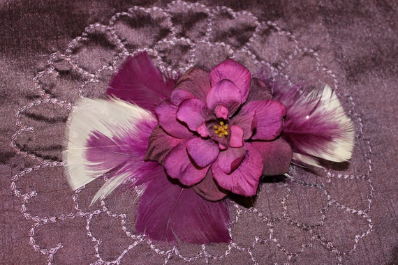 Purple Flower Feather Hair Clip