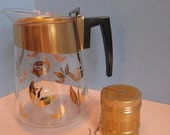 Douglas Glass/Goldtone/Metallic  Beverage Server with Goldtone Infuser
