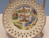 SHIPS UNTIL 12-14-15 Vintage Illinois Land Of Lincoln Souvenir Plate With Reticulated Trim