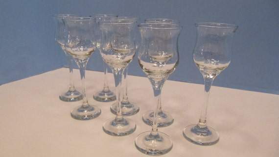 Wedding - Set of Eight Vintage Clear Glass LIBBEY PETIT CONNISSEUR Cordials In Original Box