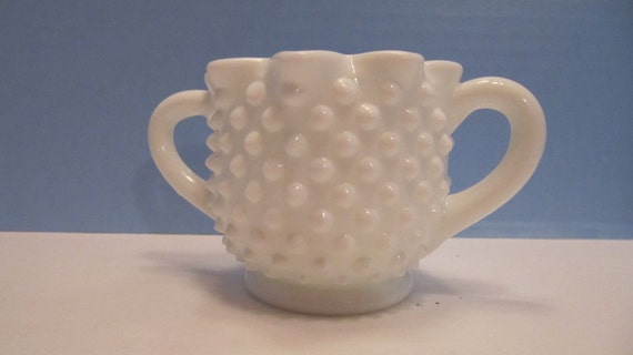 Delicate Hobnail Milkglass Sugarbowl With Pinched Rim Edge And Footed Base