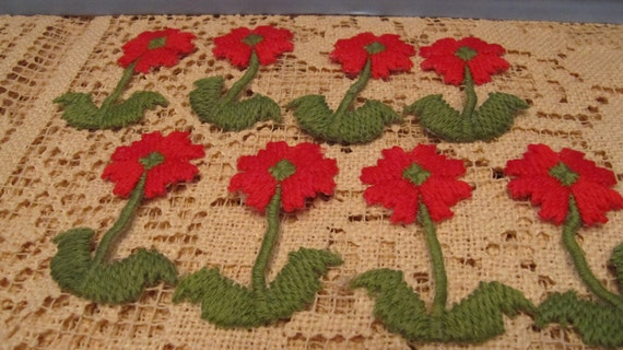 An Adorable Lot of 8 Bright Red Poppy Appliques in Full Bloom