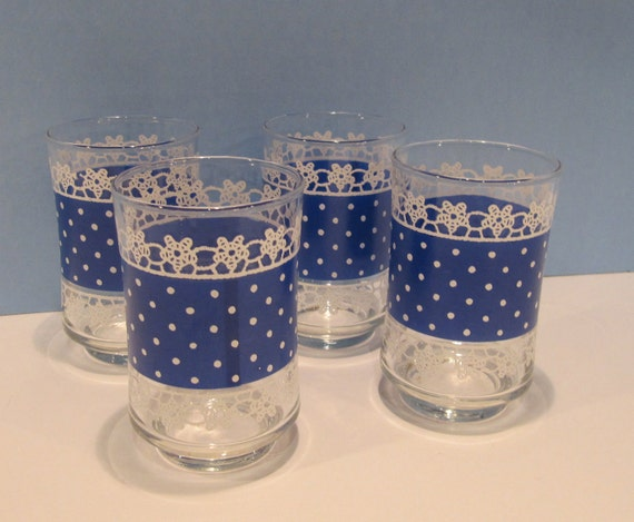 RESERVE FOR AMY  Adorable Vintage Blue and White Juice Glasses Blue and White Dots with Lace Look