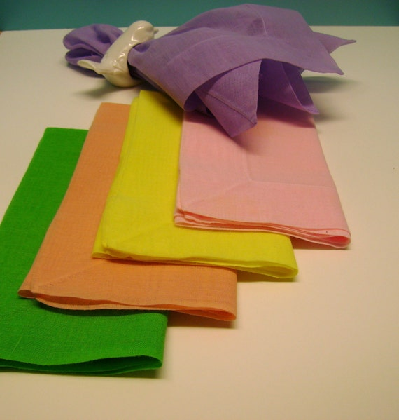 Set Of Five Vintage Sheer Dinner Napkins/One Each In Bright Spring Colors Of Lavender, Yellow, Pink, Peach And Green