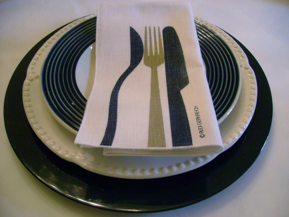 Awesome Set of Four RUDI GERNREICH Designed Dinner Napkins With Image of Knife Fork And Spoon In Denim Blue And Taupe
