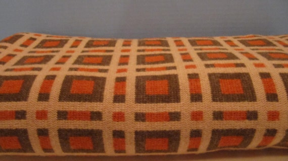 2 yards of Mod Sweater-like Color Block Fabric with Orange, Brown, and Tan that is 66 inches wide