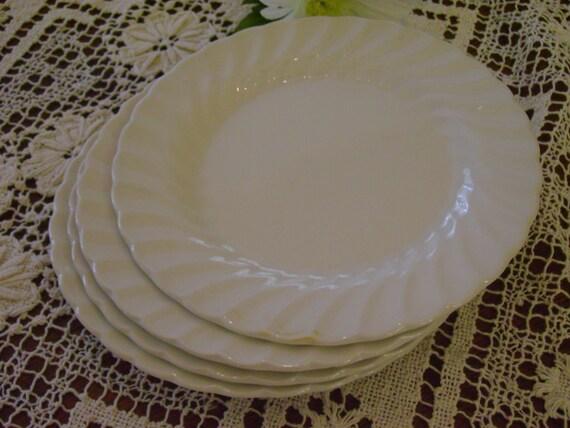 English Johnson Brothers Ironstone Snow White Regency Pattern Swirled Edged Dessert Plates