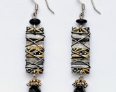 Paper Collage, Long Rectangular, Black, Silver and Gold, Wire Wrapped Earring with Faceted Glass Bead Dangle