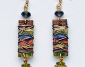 Paper Collage, Long Rectangle, Green, Purple, Rust, Burgundy and Gold, Wire-wrapped earring with Faceted Glass Dangle