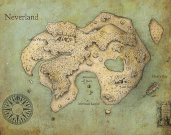 Peter Pan Neverland Map Fine Art Print