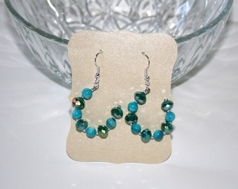 Gorgeous Green, Teal, Blue Beaded 3/4 Hoops