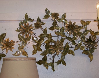 Brass  & Copper Wall Sculpure of Layered Flowers and Leaves