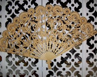 Syroco Large Ornate Filigree Fan, Wall Hanging