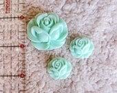 Mint Rose Resin Flower Flatback Cabochons, Set of 3
