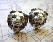 Valentine's Day Special Steampunk  Silver Lion Men Cufflinks Safari Animal themed Cufflinks Unique Gift Idea by 300Moons FREE SHIPPING
