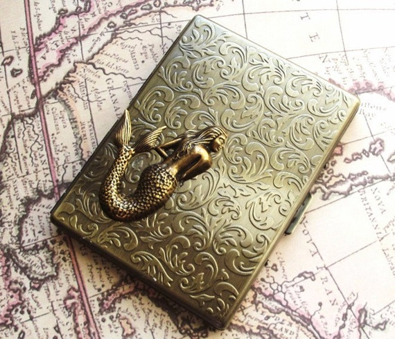 STEAMPUNK Metal Wallet Accessories Gift for Men Gift for Women Mermaid Design Case Edwardian Accessories Unique Gift Idea FREE SHIPPING
