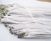 15pcs 18 inch bright white ribbon necklace cord chain lobster clasp A0014